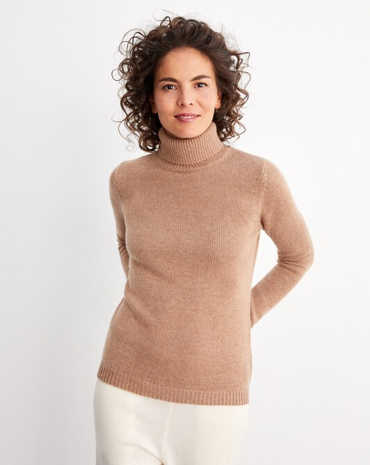 6-ply roll-neck - Camel