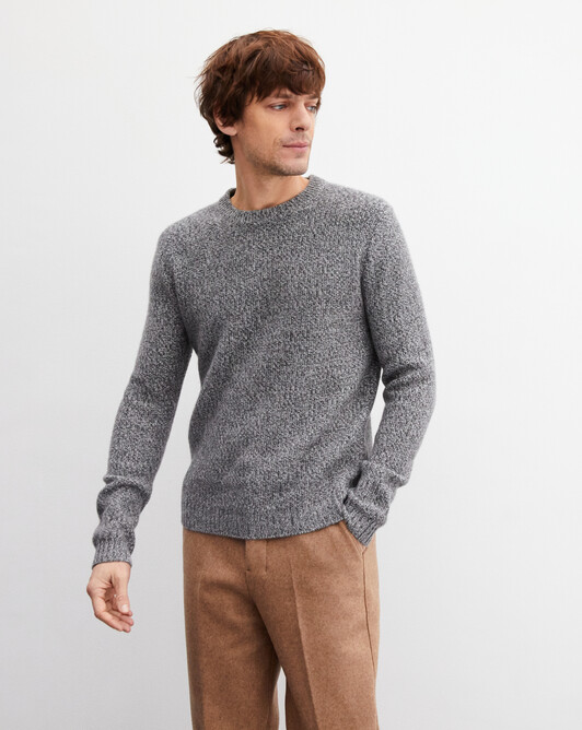 Marl moss stitch crew neck pullover - Marled flannel grey