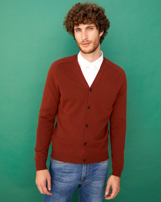 Fitted cardigan with offset shoulders - Chestnut