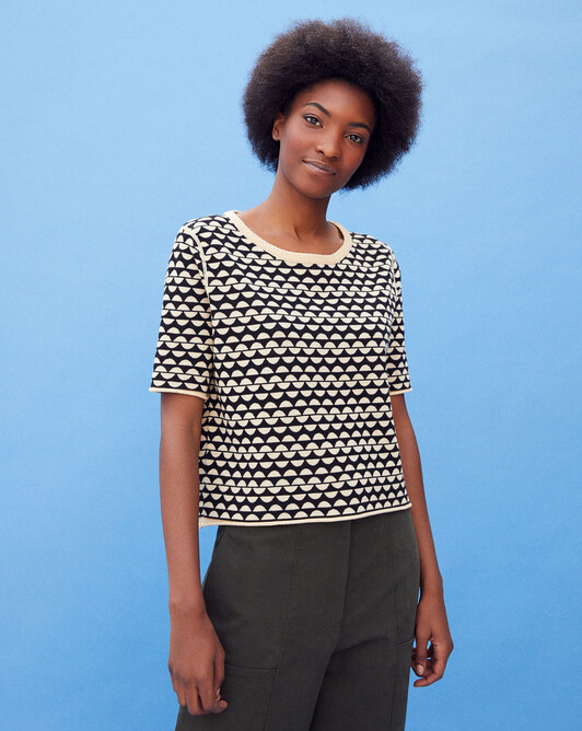 Short-sleeved jacquard ceylon crew-neck sweater - Hemp/black
