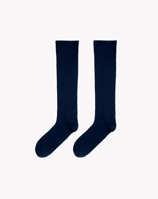 Plain long socks - Navy blue