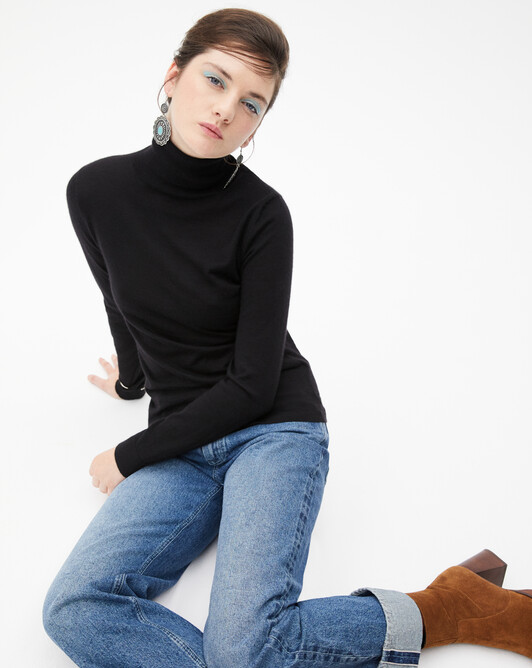 Contemporary extrafine roll-neck pullover - Black
