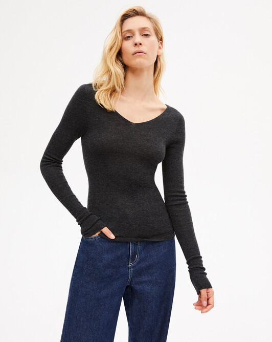 Pull V ultrafin sans coutures - Loup