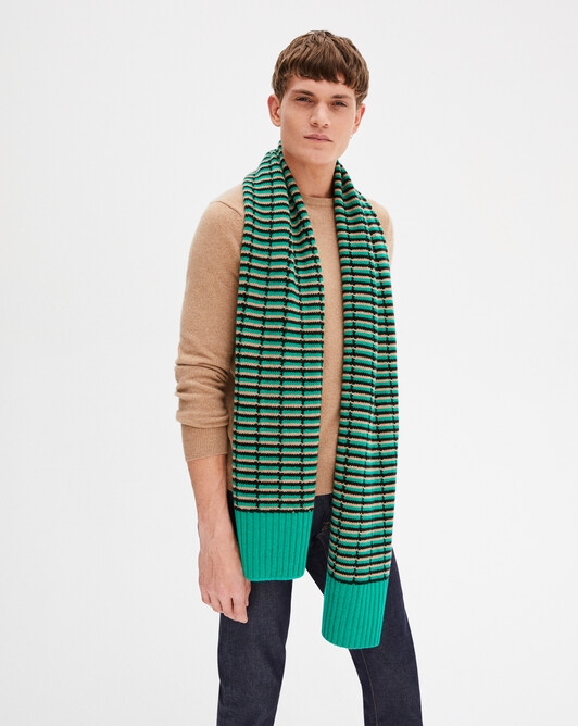 Tricolour stitch openwork scarf 180 x 40 cm - Camel/peppermint/ebony