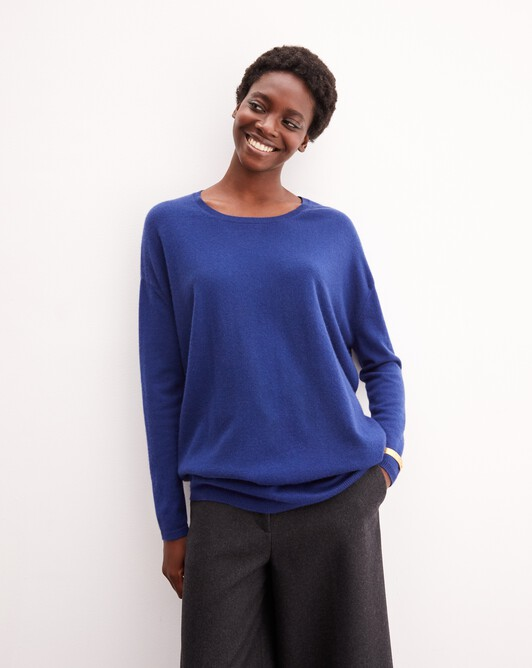 Contemporary maxi crew neck pullover - Royal