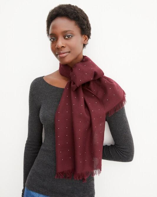 Cashmere voile scarf  with cristals 150 cm x 50 cm - Azuki