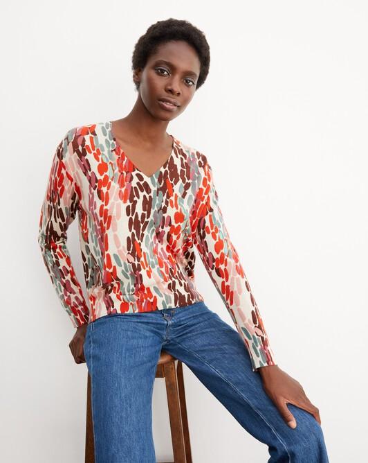 Petal print v-neck pullover - Sepia beige