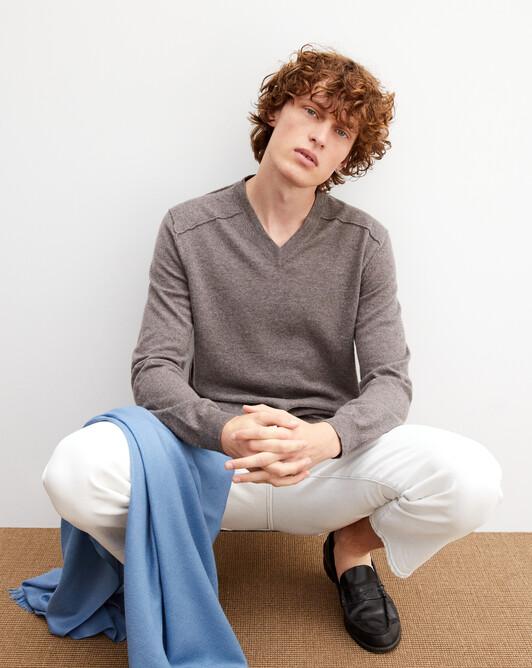 Cashmere/linen V-neck pullover - Bark