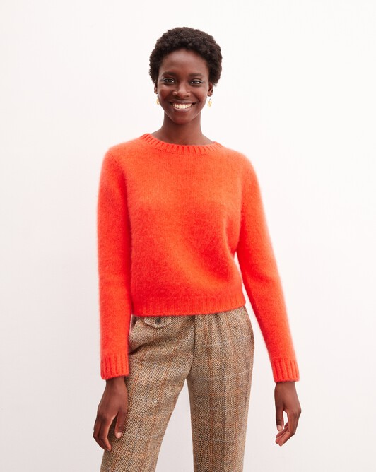 Brushed cashmere crew neck pullover - Lipstick