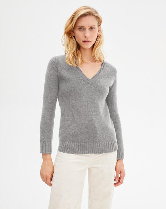 12-ply V-neck pullover - Flannel grey