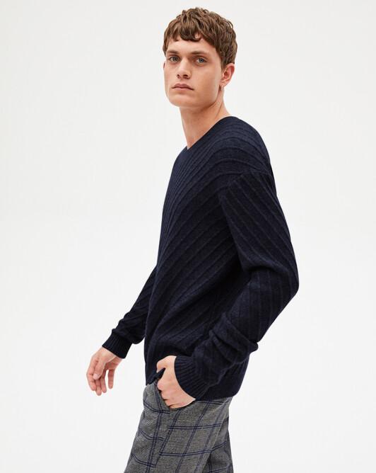 Diagonal-rib crew-neck sweater - Navy blue