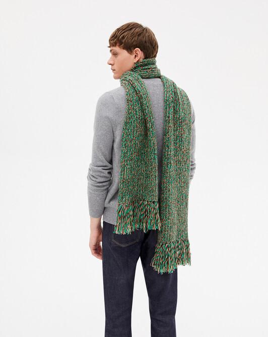 12 ply marl fringed scarf 180 x 25 cm - Peppermint marled