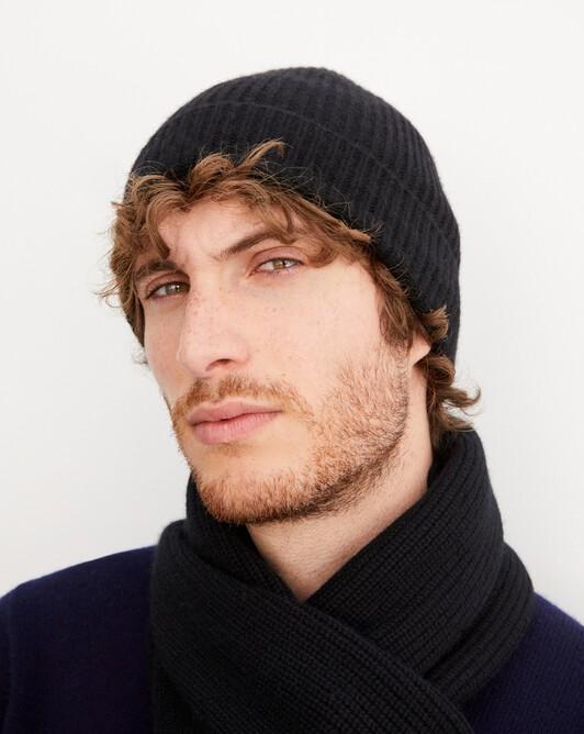 Half cardigan rib hat - Black