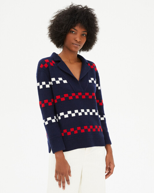 Sailor style collar chequerboard ribs sweater - Navy blue