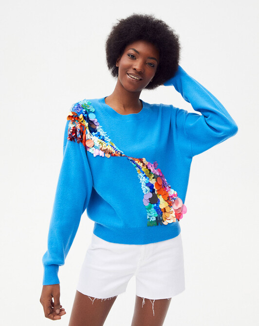 Rainbow waves embroidered crew-neck sweater - Santorin
