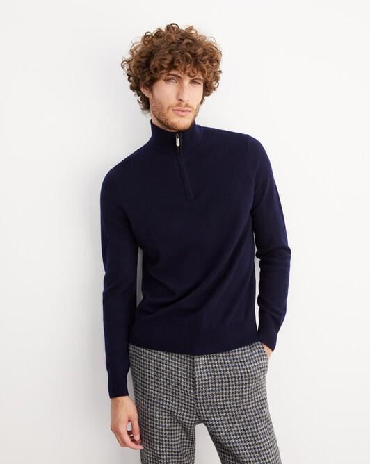 2-ply half-zip pullover - Navy blue