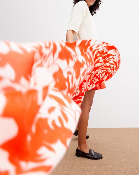 Two-tone flower printed stole 180cm x 85cm - Tan orange