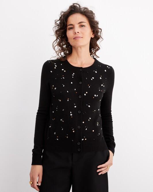 Jewelled knit cardigan - Black