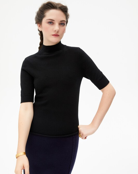 Short-sleeved roll-neck - Black