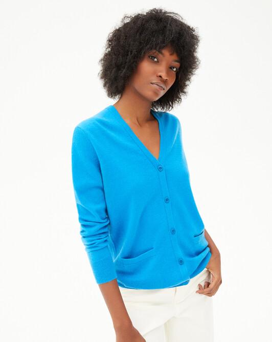Short-sleeved silk v-neck sweater - Santorin