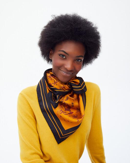 Oasis silk square scarf 90 x 90 cm - Sand/black