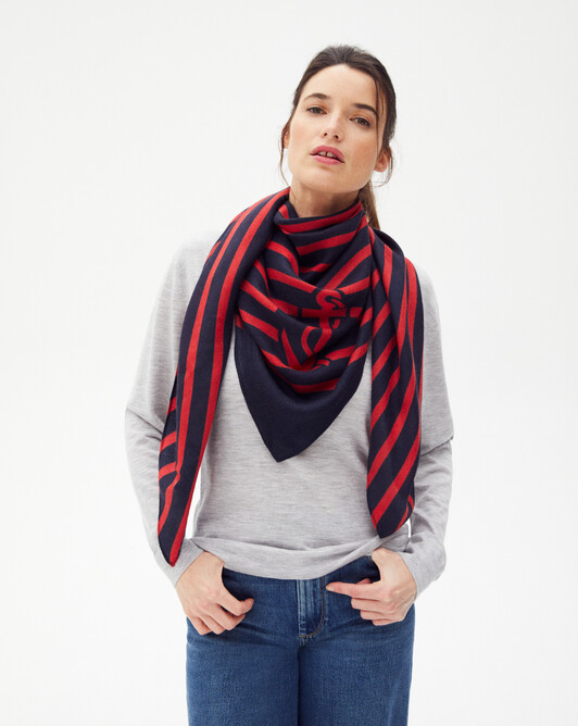 Cable stitches and anchors square scarf 120 x 120 cm - Navy blue/ruby red