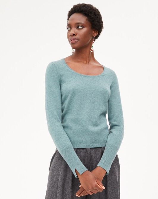 Fitted scoop crew neck pullover - Horizon