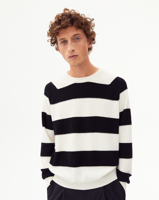 Giant stripes crew-neck sweater - Autumn white/black