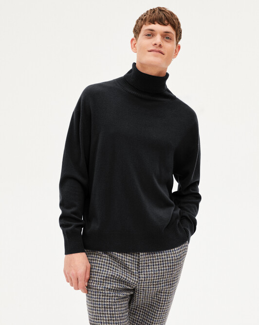 Cashmere wool rool-neck pullover - Black