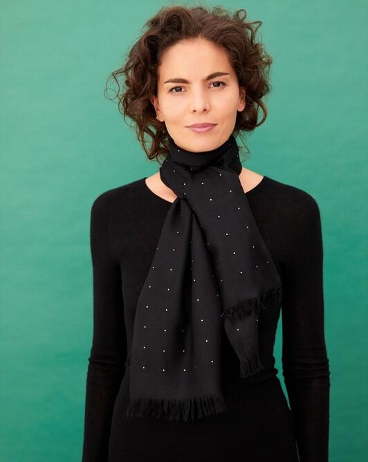 Écharpe voile de cachemire strass 150 cm x 50 cm - Noir