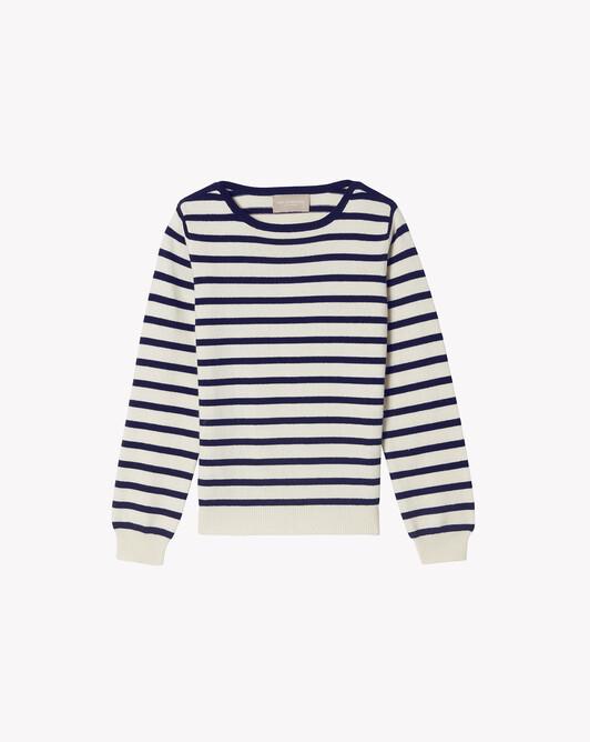 Two-coloured sailor-style crew-neck sweater - Autumnwhite/navy blue