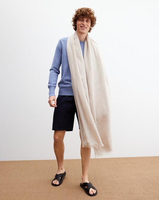 Giant cashmere voile stole 250 cm x 120 cm - Latte