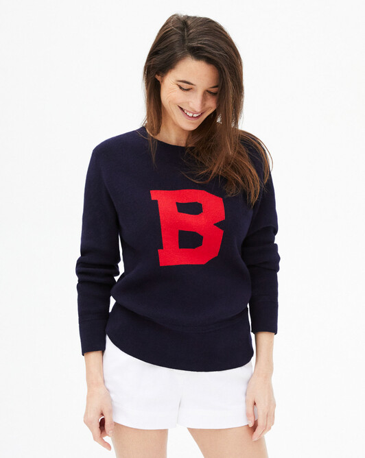 B intarsia jersey crew neck - Navy blue/ruby red