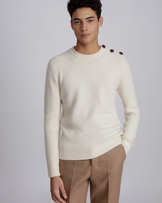 Shoulder buttoning crew neck pullover - Ecru