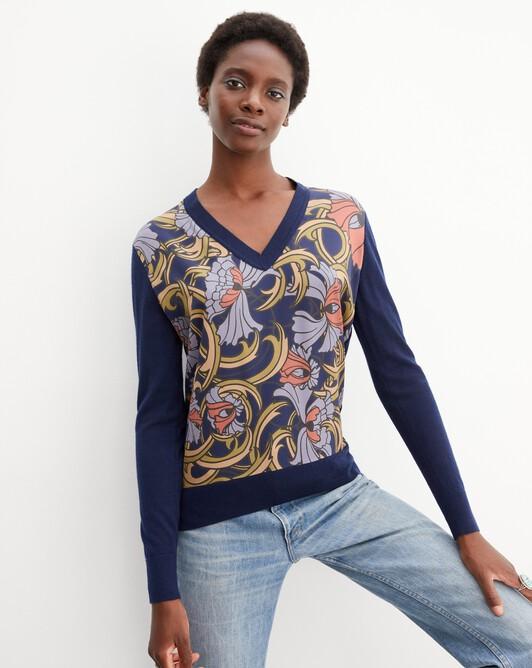 Petunia twill-knit v-neck pullover - Navy blue