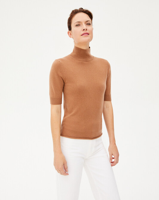 Short-sleeved roll-neck sweater - Camel