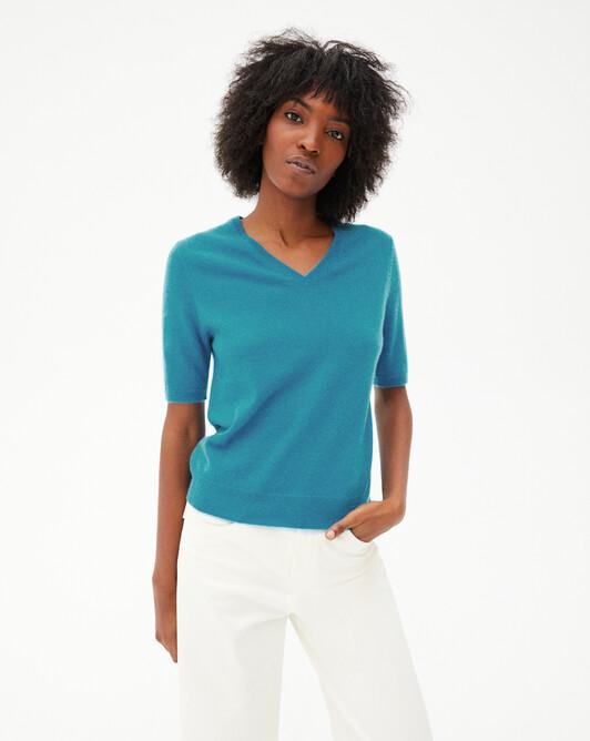 Timeless short-sleeved V-neck pullover - Vetiver