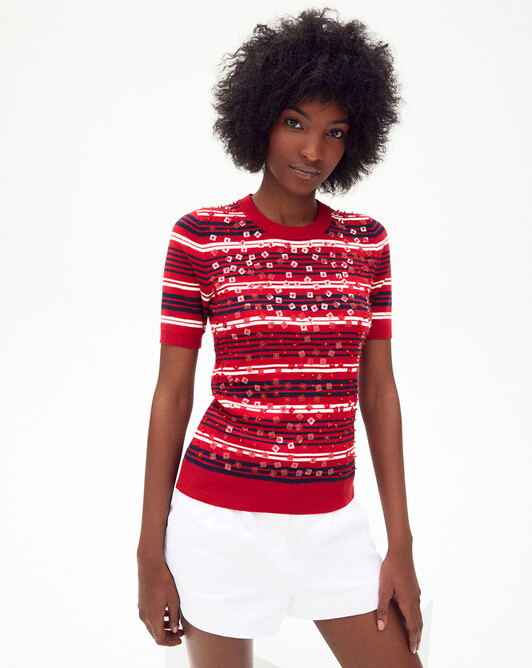 Short-sleeved striped sequin embroidered crew-neck sweater - Ruby red