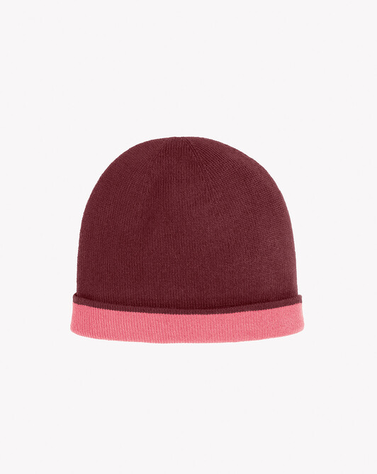 Two-colour off-gauge hat - Azuki/roseood