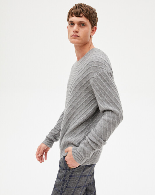 Diagonal-rib crew-neck sweater - Flannel grey